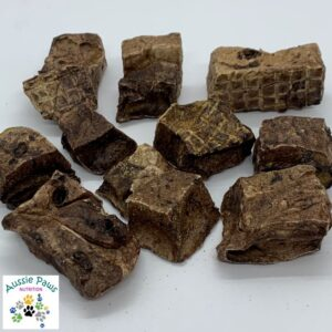 Roo Crisp Cubes - Aussie Paws Nutrition - Dried Dog Treats, All Natural, Preservative Free Pet Treats, Roo Lung, Low Fat Protein, Kangaroo, Roo Puff