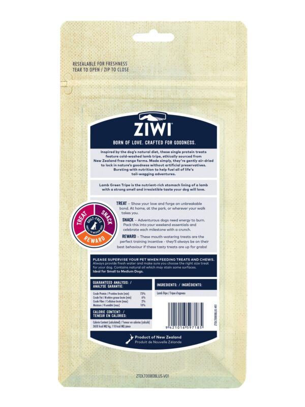 Ziwi Peak Treats Dog Lamb Green Tripe Back